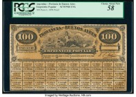 Argentina Provincia de Buenos Ayres 100 Pesos 3.10.1878 Pick Unlisted Proof PCGS Choice About New 58. Stained and small edge tear.   HID09801242017  ©...