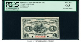 Argentina Provincia de Buenos Ayres 1 Peso 1.1.1869 Pick S481p Proof PCGS Choice New 63. Punch hole cancelled with 2 holes.   HID09801242017  © 2020 H...