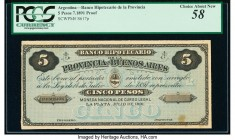 Argentina Banco Hipotecario 5 Pesos 1891 Pick S617p Proof PCGS Choice About New 58. Hinge remnants on back and minor stains.   HID09801242017  © 2020 ...