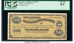 Argentina Banco Hipotecario 50 Pesos 14.7.1891 Pick S620p Proof PCGS Choice New 63. Minor adhesive residue at bottom left.   HID09801242017  © 2020 He...