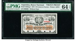 Argentina Banco Nacional 10 Centavos Fuertes 1.8.1873 Pick S643ap1 Front Proof PMG Choice Uncirculated 64 EPQ. Cancelled with 4 punch holes and printe...