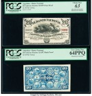 Argentina Banco Nacional 20 Centavos Fuertes 1.8.1873 Pick S644p Face and Back Proofs PCGS Choice New 63; Very Choice New 64PPQ. Hole punched cancelle...