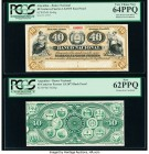 Argentina Banco Nacional 40 Centavos Fuertes 1.8.1873 Pick S646p Face and Back Proofs PCGS New 62PPQ; Very Choice New 64PPQ. Mounted on cardstock, and...