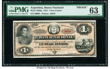 Argentina Banco Nacional 1 Peso Fuerte 1.8.1873 Pick S649p Face Proof PMG Choice Uncirculated 63. Small tears.  HID09801242017  © 2020 Heritage Auctio...