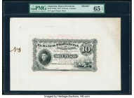 Argentina Banco Provincial de Cordoba 10 Pesos 1.1.1881 Pick S738p Front and Back Proofs PMG Gem Uncirculated 65 EPQ (2). Mounted on cardstock.   HID0...