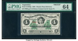 Argentina Banco Comercial de Santa Fe 4 Reales Plata Boliviana 2.1.1869 Pick S1593fp Proof PMG Choice Uncirculated 64. Punch hole cancelled with 2 hol...