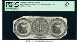 Argentina Banco Entre-Riano 1 Peso Moneda Boliviana 1.6.1870 Pick S1661p Back Progressive Proof PCGS New 62. Minor mounting remnants and small edge te...