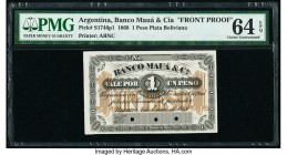 Argentina Banco Maua & Cia 1 Peso Plata Boliviana 2.1.1868 Pick S1746p1 Front Proof PMG Choice Uncirculated 64 EPQ. Cancelled with 3 punch holes and p...