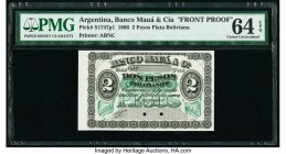 Argentina Banco Maua & Cia 2 Pesos Plata Boliviana 2.1.1868 Pick S1747p1 Front Proof PMG Choice Uncirculated 64 EPQ. Cancelled with 2 punch holes and ...
