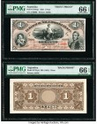 Argentina Banco Muñoz & Rodriguez Ca. 1 Peso 30.6.1883 Pick S1761p1; S1761p2 Front and Back Proofs PMG Gem Uncirculated 66 EPQ (2). The front Proof is...