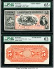 Argentina Banco Muñoz & Rodriguez Ca. 5 Pesos 30.6.1883 Pick S1762p1; S1762p2 Front and Back Proofs PMG Uncirculated 62; Gem Uncirculated 65 EPQ. The ...