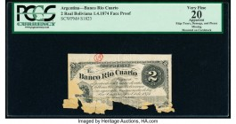 Argentina Banco Rio Cuarto 2 Reales Boliviana 1.4.1874 Pick S1823p Face Proof PCGS Apparent Very Fine 20. Edge tears, damage, pieces missing and mount...
