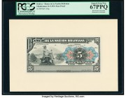 Bolivia Banco de la Nacion Boliviana 5 Bolivianos 11.5.1911 Pick 105p Face and Back Proofs PCGS Superb Gem New 67PPQ (2). Punch hole cancelled and mou...