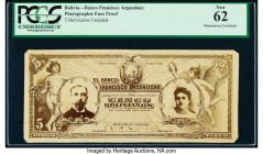 Bolivia Banco Francisco Argandona 5 Bolivianos Undated Pick Unlisted Photographic Face Proof PCGS New 62. Mounted on cardstock.  HID09801242017  © 202...