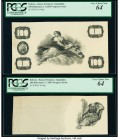 Bolivia Banco Francisco Argandona 100 Bolivianos 1.7.1893 Pick S146p Two Progress Proofs PCGS Very Choice New 64 (2). Minor mounting remnants on the b...