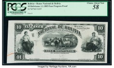 Bolivia Banco Nacional de Bolivia 10 Bolivianos 1.1.1883 Pick S207p Progressive Face Proof PCGS Choice About New 58. Small internal tears.   HID098012...