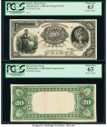 Bolivia Banco Potosi 20 Bolivianos 1.1.1894 Pick S234p Face and Back Proofs PCGS Choice New 63 (2). Internal tear, minor mounting remnants and stamp c...