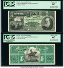 Brazil Thesouro Nacional 1 Mil Reis ND (1879) Pick A250p Face and Back Proofs PCGS Choice New 63 (2). Punch hole cancelled and mounted on cardstock.  ...