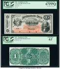 Chile Republica de Chile 1 Pesos ND (1883-98) Pick 11p Face and Back Proofs PCGS Choice New 63; Superb Gem New 67PPQ. Small edge tear, minor mounting ...