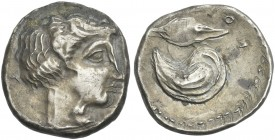 Campania, Cuma. Plated didrachm. An unrecorded variety.