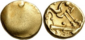 CELTIC, Northeast Gaul. Ambiani. Circa 60-30 BC. Stater (Gold, 16 mm, 6.29 g), 'statére uniface' type. Blank convex surface. Rev. Celticized horse gal...
