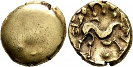 CELTIC, Northeast Gaul. Ambiani. Circa 60-30 BC. Stater (Gold, 18 mm, 6.29 g), 'statére uniface' type. Blank convex surface. Rev. Celticized horse gal...