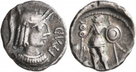 CELTIC, Central Gaul. Arverni. Circa 50-30 BC. Quinarius (Silver, 15 mm, 1.77 g, 12 h), Epadnactus. EPAD Draped bust of Roma to right, wearing crested...