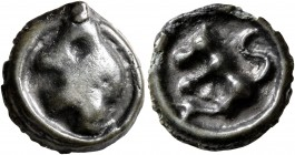 CELTIC, Central Gaul. Turones. Circa 80-50 BC. Cast unit (Potin, 15 mm, 1.75 g, 3 h). Crude male head to left. Rev. Bull butting to left. DT 3509. LT ...