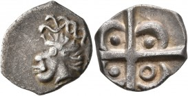 CELTIC, Southern Gaul. Volcae-Arecomici. Circa 118-76/74 BC. Drachm (Silver, 17 mm, 2.54 g). Celticized male head with African features to left. Rev. ...