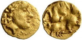 CELTIC, Central Europe. Vindelici. Early 2nd century BC. 1/24 Stater (Gold, 6 mm, 0.32 g, 2 h), 'Androkephales Pferd II' type. Male head to right, wea...