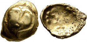CELTIC, Central Europe. Vindelici. 1st century BC. 1/4 Stater (Gold, 13 mm, 1.59 g), 'Rolltier' type. Convex surface with a dragon-like animal with th...