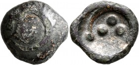 CELTIC, Central Europe. Vindelici. 1st century BC. Stater (Subaeratus, 17 mm, 4.93 g), 'Rolltier' type. Convex surface with a dragon-like animal with ...