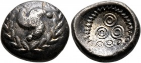 CELTIC, Central Europe. Vindelici. 1st century BC. Stater (Electrum, 19 mm, 5.34 g), 'Mardorf' type. Triskeles within a wreath formed of two branches ...