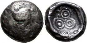 CELTIC, Central Europe. Vindelici. 1st century BC. Stater (Bronze, 16 mm, 5.51 g), 'Mardorf' type. Triskeles within a wreath formed of two branches wi...