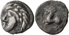 CELTIC, Central Europe. Vindelici. Late 2nd to early 1st century BC. Quinarius (Silver, 14 mm, 1.66 g, 3 h), 'Prototyp' issue. Naturalistic male head ...