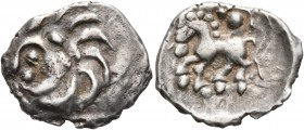 CELTIC, Central Europe. Vindelici. 1st century BC. Quinarius (Silver, 17 mm, 1.85 g, 1 h), 'Büschelquinar' type. Celticized male head with long hair t...