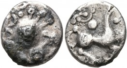 CELTIC, Central Europe. Vindelici. 1st century BC. Quinarius (Subaeratus, 13 mm, 1.22 g), 'Brillengesicht' type. Celticized head with curly hair and p...