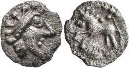 CELTIC, Central Europe. Vindelici. 1st century BC. 1/4 Quinar (Silver, 9 mm, 0.41 g, 1 h), 'Manching II' type. Celticized male head with spiky hair to...