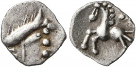 CELTIC, Central Europe. Vindelici. 1st century BC. 1/4 Quinar (Silver, 9 mm, 0.33 g, 2 h), 'Manching II' type. Celticized male head with spiky hair to...