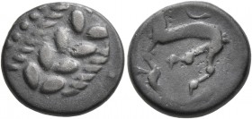CELTIC, Central Europe. Boii. 1st century BC. Drachm (Silver, 14 mm, 2.52 g, 7 h), 'Simmering-Réte' (obverse) and 'Tótfalu' (reverse) type. Laurel wre...