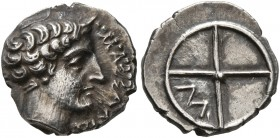 GAUL. Massalia. Circa 410-380 BC. Obol (Silver, 10 mm, 0.80 g). MAΣΣAΛIΩ-TAN Horned head of Lakydon to right. Rev. Wheel of four spokes; M in one quar...