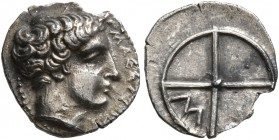 GAUL. Massalia. Circa 410-380 BC. Obol (Silver, 11 mm, 0.73 g). MAΣΣAΛIΩ Horned head of Lakydon to right. Rev. Wheel of four spokes; M in one quarter....