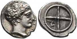 GAUL. Massalia. Circa 410-380 BC. Obol (Silver, 10 mm, 0.72 g). MAΣΣAΛ Horned head of Lakydon to right. Rev. Wheel of four spokes; M in one quarter. C...