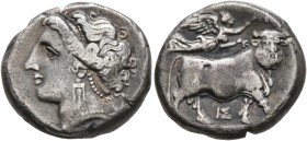 CAMPANIA. Neapolis. Circa 275-250 BC. Didrachm or Nomos (Silver, 19 mm, 7.00 g, 7 h). Diademed head of a nymph to left, wearing pendant earring and ne...