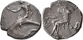 CALABRIA. Tarentum. Circa 440-425 BC. Didrachm or Nomos (Silver, 21 mm, 8.00 g, 6 h). Youthful oikist, nude, riding dolphin to left, hodling akrostoli...