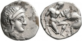 CALABRIA. Tarentum. Circa 325-280 BC. Diobol (Silver, 12 mm, 1.20 g, 11 h). Head of Athena to right, wearing crested Attic helmet decorated with three...