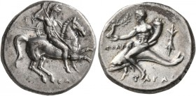 CALABRIA. Tarentum. Circa 280-272 BC. Didrachm or Nomos (Silver, 21 mm, 6.55 g, 1 h), Gy..., Sostratos, and Poly..., magistrates. Nude rider on horse ...