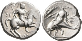 CALABRIA. Tarentum. Circa 272-240 BC. Didrachm or Nomos (Silver, 19 mm, 6.40 g, 11 h), Thi... and Aristok..., magistrates. Warrior on horse galloping ...