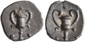 CALABRIA. Tarentum. Circa 280-228 BC. Obol (Silver, 9 mm, 0.47 g, 9 h). Kantharos with two pellets at base. Rev. Kantharos with pellet above and two p...