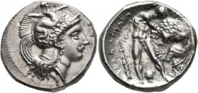 LUCANIA. Herakleia. Circa 390-340 BC. Didrachm or Nomos (Silver, 23 mm, 7.93 g, 7 h). Head of Athena to right, wearing single-pendant earring, necklac...